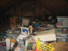 An attic before professional organizer Leah Friedman got to work.