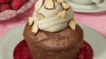 IMAGE: Recipe: Devil's food cupcakes with almond-mocha topping on raspberry sauce