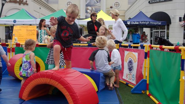 The blocks were a big hit at the Go Ask Mom playdate Sept. 13, 2014, at the Midtown Farmers' Market.
