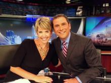 Sloane Heffernan and Bruce Mildwurf at WRAL-TV's anchor desk.