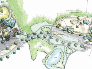 The park could open in fall 2015. It will be home to the town's first sprayground.