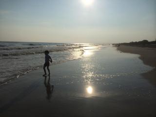 Julia Sims' son at the beach