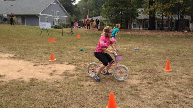 "Go Ask Mom editor Sarah Lindenfeld Hall attempts the ""cycle challenge."""