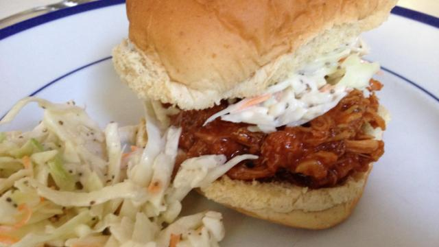 Root beer pulled chicken sandwich