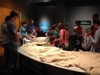 Visitors take in the dig pit at the new exhibit.