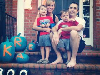 The Kroboth family painted their pumpkins teal to indiciate they'll be handing out allergy-free treats this Halloween.