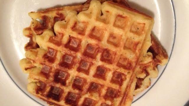 Mashed potato waffles with garlic and cheese