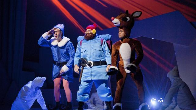 Adam Poole (Hermey), Michael Brocki (Yuken Cornelius) and Waylin Owsley (Rudolph) of Rudolph the Red-Nosed Reindeer the Musical, Raleigh, NC.  Photo by Rob Orazi