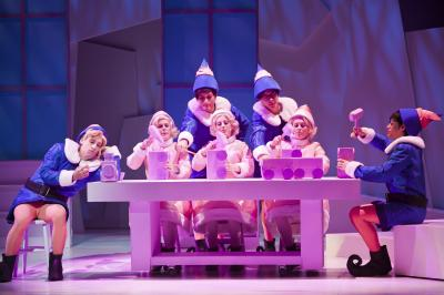 Adam Poole (Hermey), Randi Winter, Anthony Acosta, Jessica Becker, Nicholas Polonio, Sawyer Stone and Alexander Copas (Elves) of Rudolph the Red-Nosed Reindeer the Musical, Raleigh, NC.  Photo by Rob Orazi