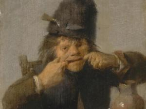 Adriaen Brouwer, Youth Making a Face, circa 1632/35, oil on oak panel, 5 3/8 x 4 1/8 in., National Gallery of Art, Washington, New Century Fund, 1994.46.1