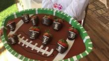 Chef Hannah with her chocolate strawberry footballs