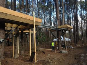 Visitors will be able to move between the treehouses through bridges and rope tunnels.