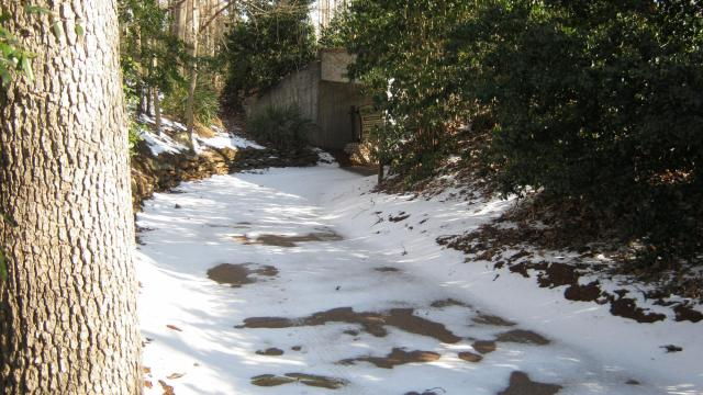 A walkway at the N.C. Zoo that is covered by ice and snow last week.