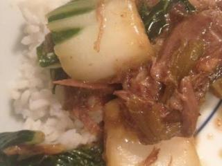 Slow cooker Chinese beef and bok choy