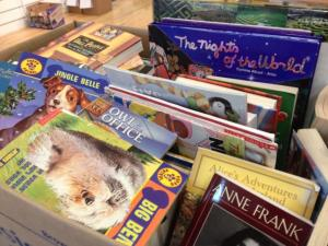 Books collected for WAKE Up and Read's book drive.