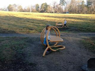 Checking out the Whisper Benches at the N.C. Museum of Art in Raleigh