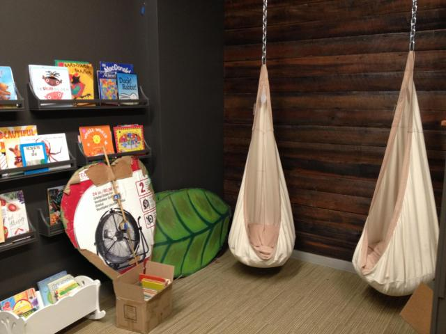 The Book Nook offers a place for quiet reading and play.