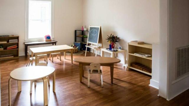 The work space offers a quiet place for parents who work remotedly. Meanwhile, they're kids can play and learn in classrooms in the same building. Credit: Lis Tyroler Photography