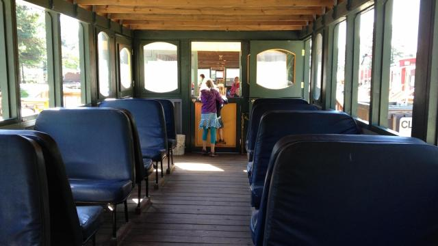 Waiting to depart aboard a train at the New Hope Valley Railway
