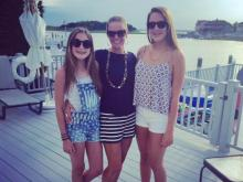 Amanda Lamb with her daughters on the Jersey Shore.