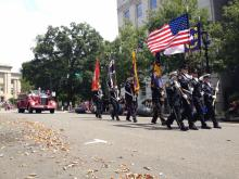The annual fire truck parade, part of the South Atlantic Fire Rescue Expo, rolled down Fayetteville Street in Raleigh on Saturday.