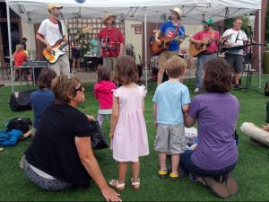 The Sandbox band provided family friendly musical entertainment at the Go Ask Mom event at North Hills Saturday, Sept. 12, 2015.