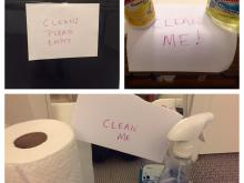 When something needs cleaning, Amanda leaves reminder notes for her daughters.