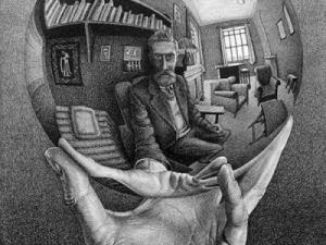 M. C. Escher, Hand with Reflecting Sphere (Self-Portrait in Spherical Mirror), 1935, lithograph, 12 1/2x 8 3/8in., Collection of Rock J. Walker, New York, (c) 2015 The M.C. Escher Company, The Netherlands. All rights reserved. www.mcescher.com