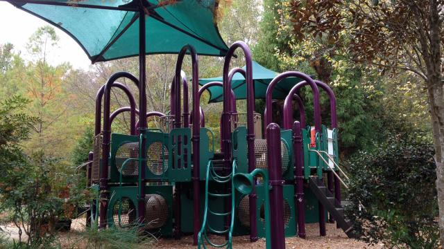 One of two large climbing pieces at the playground.