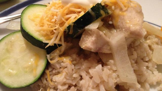 Slow cooker chicken and veggies over rice