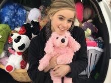 Alexa Robertson collected new stuffed animals for children at UNC Children's Hospital.