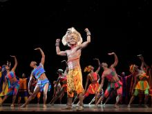 "Jelani Remy as ""Simba"" and the ensemble in ""He Lives in You"" from THE LION KING National Tour.  Copyright: Disney.  Photo Credit:  Joan Marcus."