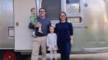Kelley family next to their Airstream