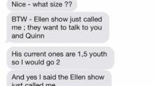 Sloane Heffernan and her husband's text include news that The Ellen Show called to interview Sloane and her daughter after a video went viral.