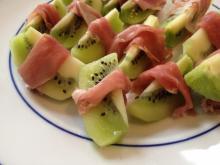 Prosciutto wrapped kiwi