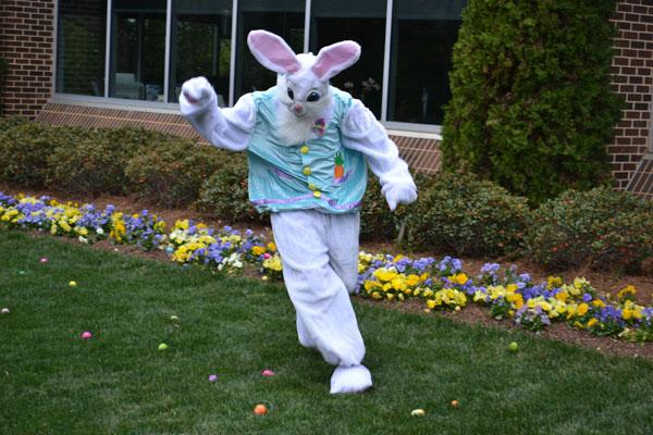 The Easter Bunny is ready to help the littlest CBC kids find eggs at the annual hunt on Saturday, March 19, 2016.