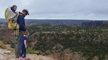 Mark Kelley hiking along the canyon rim with daughter and son at Palo Duro Canyon State Park