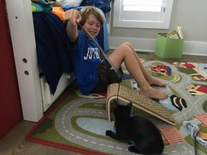Julia Sims' son with his new cat, Catcher.