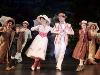 Micah Boan, Kara Lindsay, Nicolas Dromard and Riley Rose Campbell star in N.C. Theatre's Mary Poppins. Credit: Curtis Brown