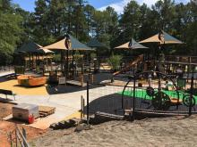 The Raleigh playground at Laurel Hills Park on Edwards Mill Road is expected to open in November.