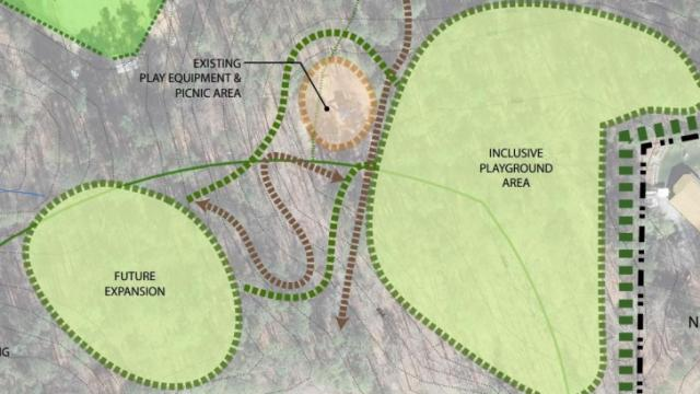 Schematic shows the new play space could sit next to the existing playground. Courtesy: Town of Chapel Hill