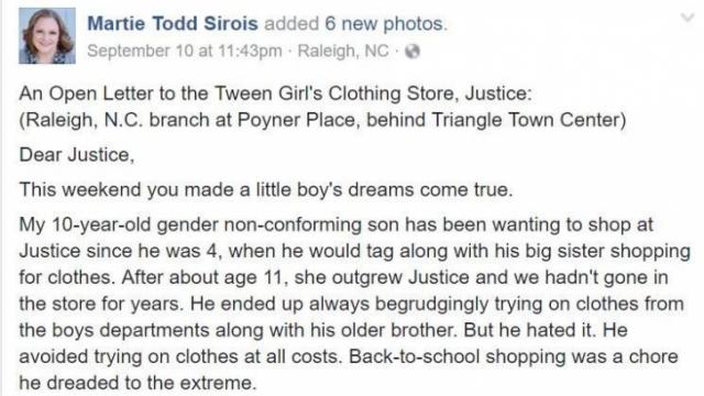 A Raleigh mom  shares her son's experience when shopping at the tween store Justice.