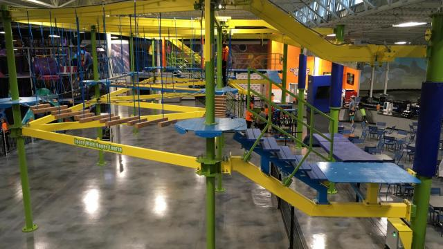 The indoor family fun center at 14460 Falls of Neuse Rd. includes trampolines; a track for electric go-karts; a ropes course; bumper cars; laser tag; a soft play zone and more.