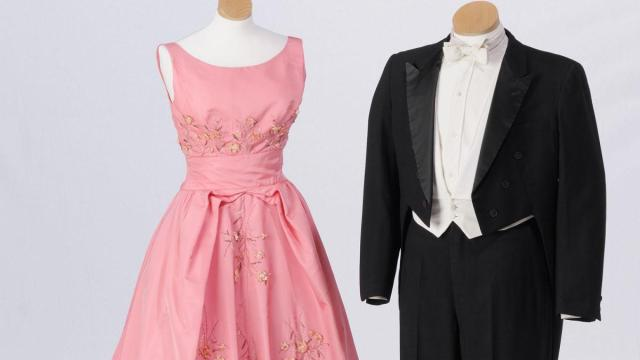 For his 1961 Inaugural Ball, Gov. Terry Sanford wore this tuxedo and his wife, Margaret Sanford, selected this pink dress. The tuxedo, a recent donation to the N.C. Museum of History, is now reunited with the gown, which has been in the museum collection since Mrs. Sanford donated it in 1973.