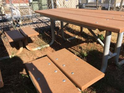Wheelchair-friendly picnic tables at Sassafras All Children's Playground