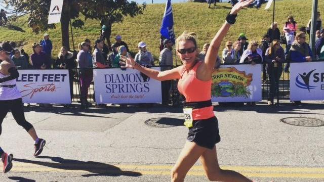 Amanda Lamb finishes her first marathon.