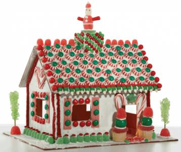 The reusable gingerbread house is made by The Candy Cottage, based in Rocky Mount.