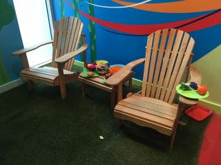 Backyard grill area at Marbles Kids Museum