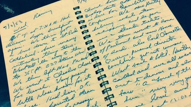 Pages from Amanda Lamb's father's travel journal.