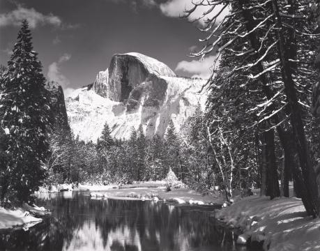 Ansel Adams, Half Dome, Merced River, Winter, Yosemite National Park, California, circa 1938, gelatin-silver print, 14 3/4 x 19 ¼ in., Turtle Bay Exploration Park, Redding, Calif.; Image courtesy Collection Center for Creative Photography, The University of Arizona,  © 2015 The Ansel Adams Publishing Rights Trust